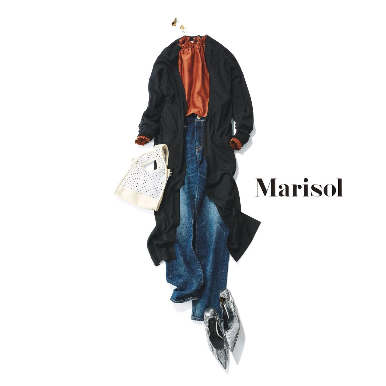 40代ファッション フリルブラウス×デニムパンツ×ロングカーディガンコーデ