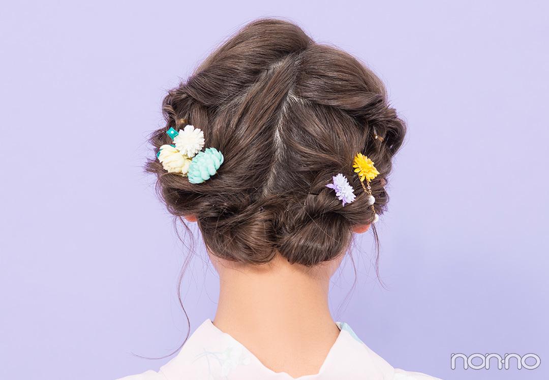 ゆかたの髪型・ミディアム甘め編♡ 簡単なのに編み込み風!【ゆかたの着付けと髪型】_1_2-2
