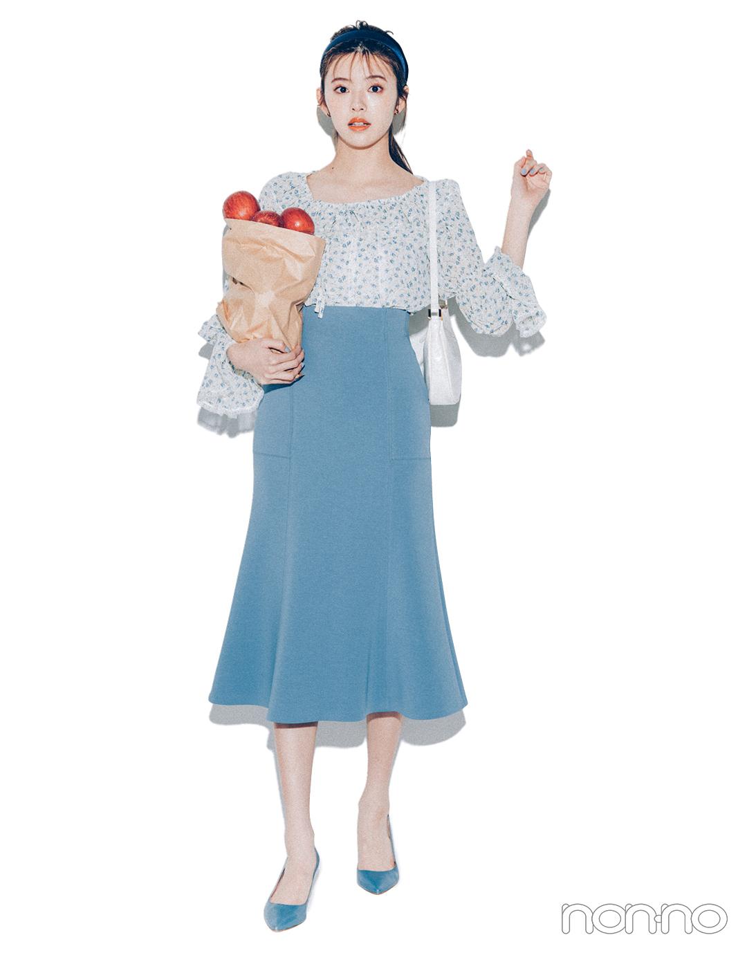 """鈴木ゆうかが着る2021年春の""""着たいものファースト""""なコーデレッスン小花柄ブラウス1"""
