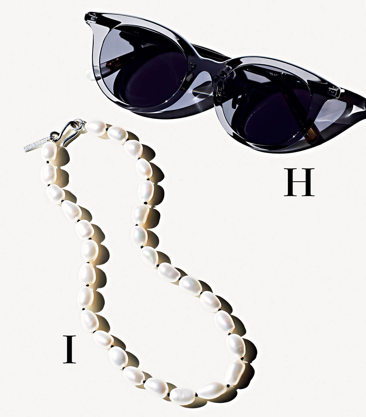 H.ブランのサングラス I.ソフィーブハイのパールネックレス