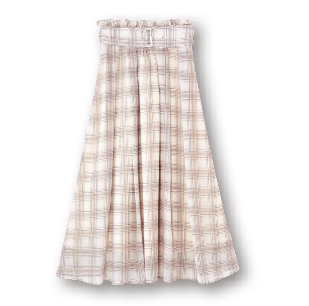 新川優愛が10月まで着回す! シアーチェックのロングスカート♡ _1_1