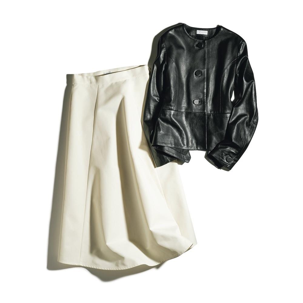 ファッション コラムのレザージャケットと張り感スカート