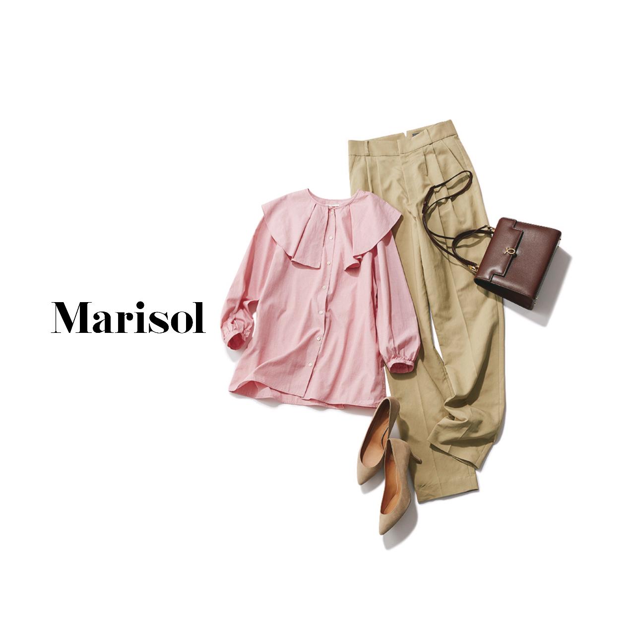 40代ファッション  ピンクブラウス×ベージュチノパンコーデ