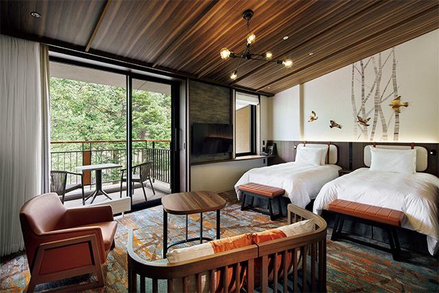 客室は、軽井沢の町鳥、アカハラをアクセントにしたツインルーム
