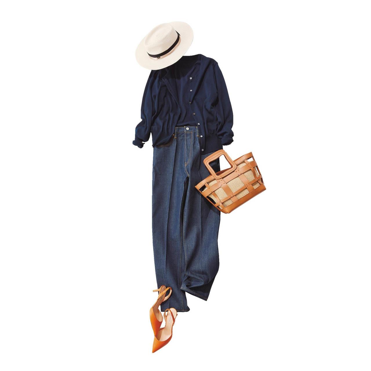 ■帽子×カーディガン×デニムパンツコーデ