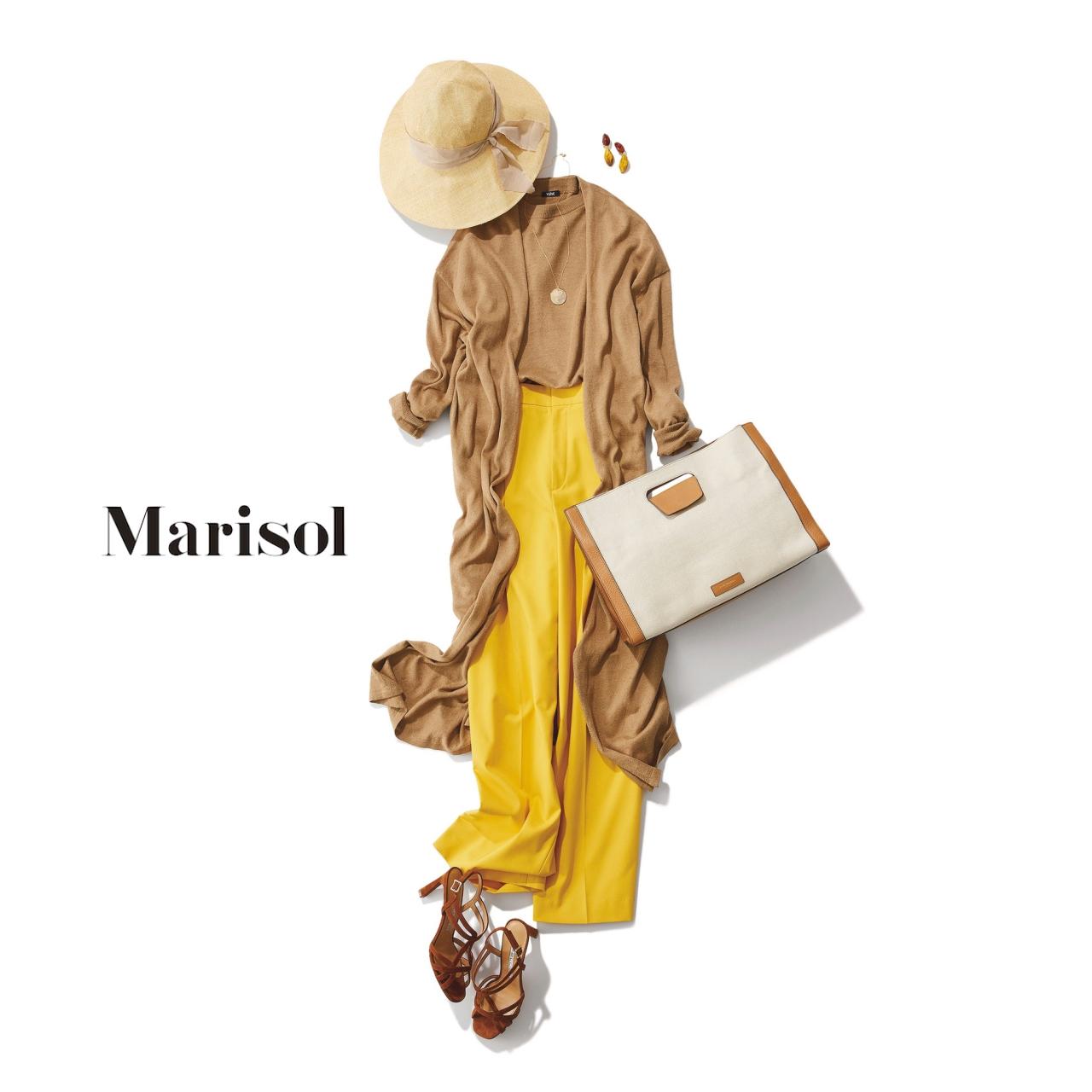 40代ファッション ベージュロングカーディガン×イエローパンツコーデ