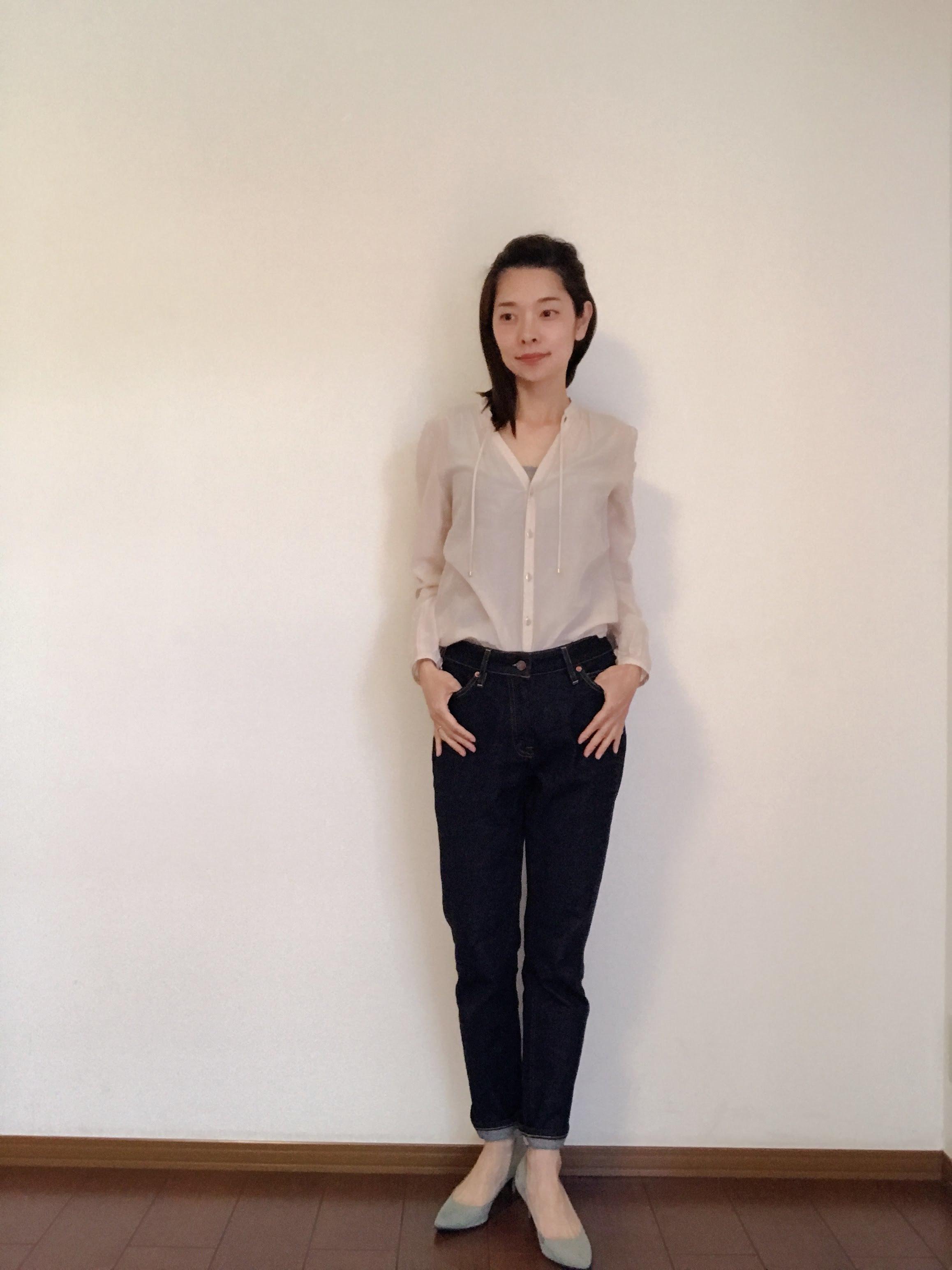 濃紺デニムをきれいめシャツで着回し!_1_1-1
