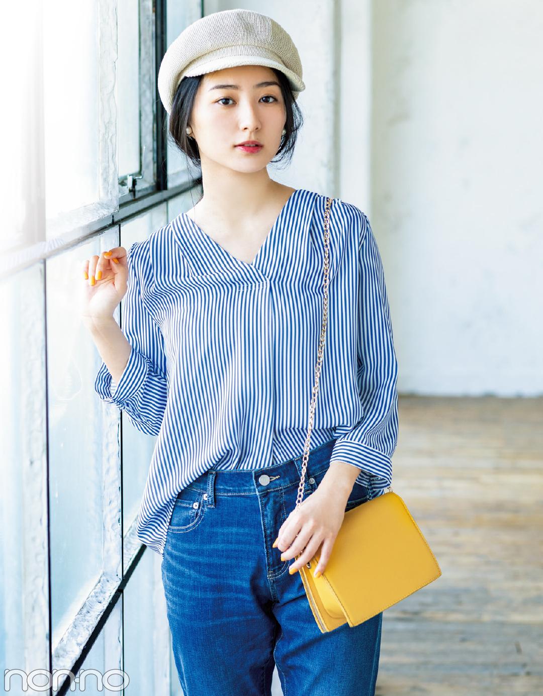 【夏のシャツコーデ】高田里穂は、ノーカラースキッパーで今っぽさ満点にコーデ