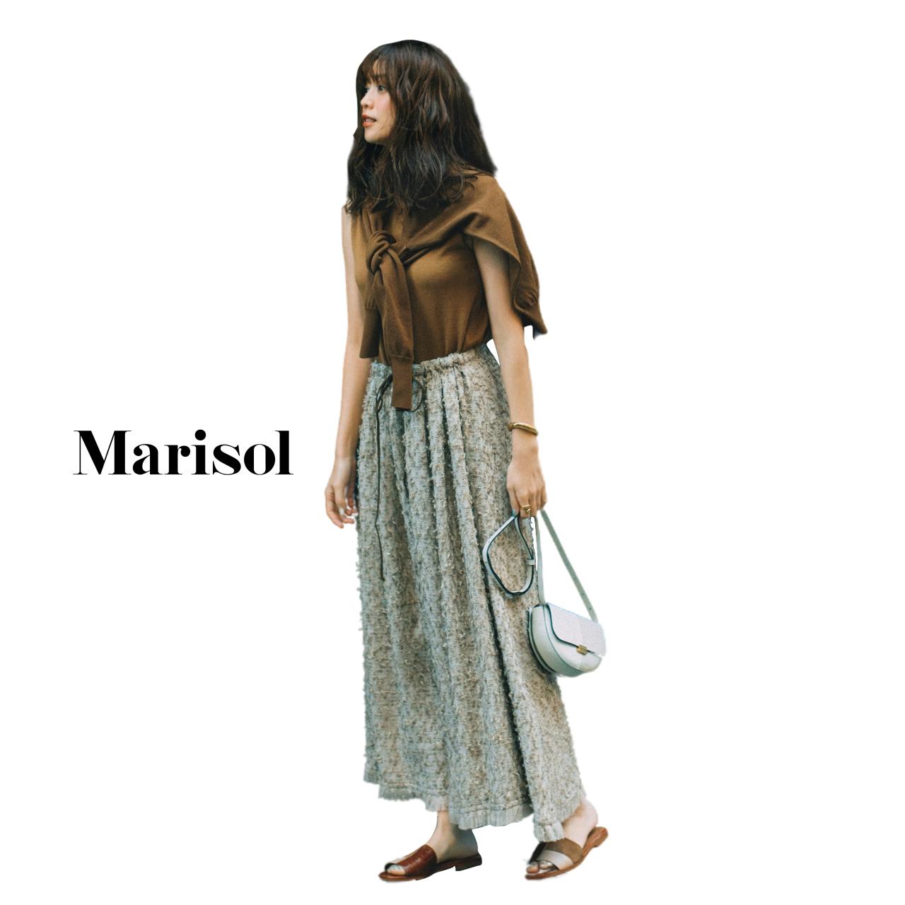 40代ファッション ニットアンサンブル×ロングスカートコーデ