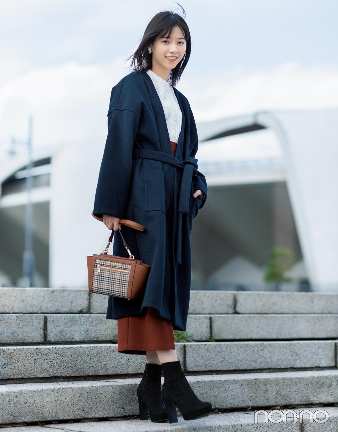 西野七瀬のフェミニンアウターナビ★ ノーカラーガウン3選!_1_2