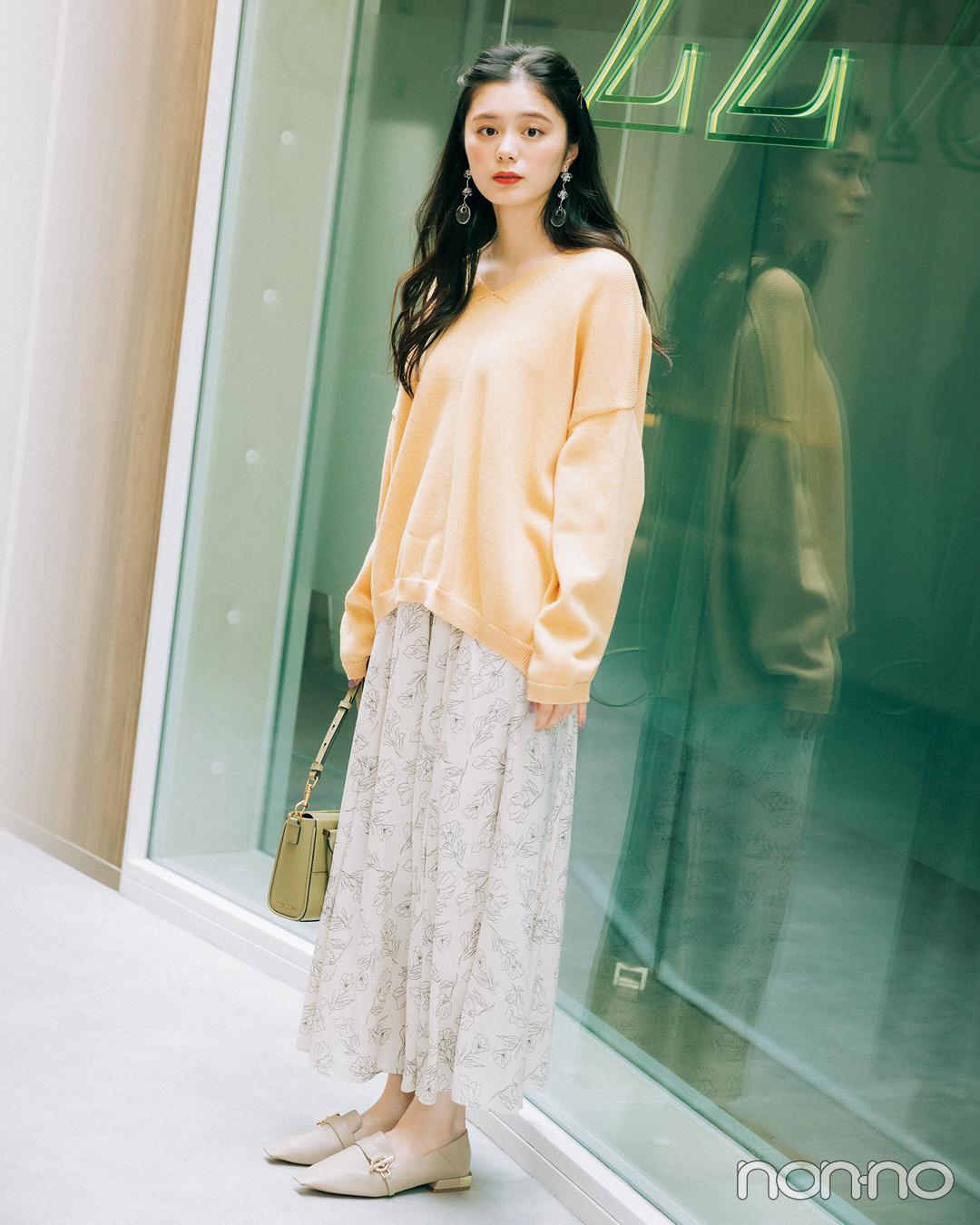 大学生が買ってよかったもの2021ボトム大賞線画の花柄スカートのコーデ