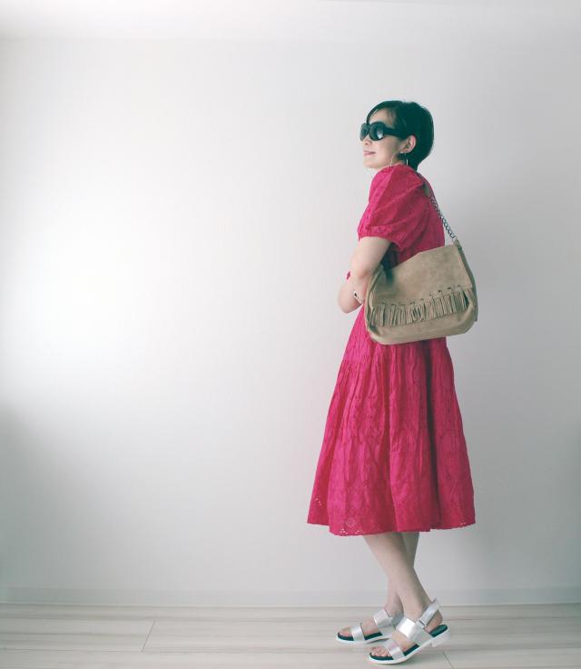 H&M ショッキングピンク パフスリーブ コットンワンピース