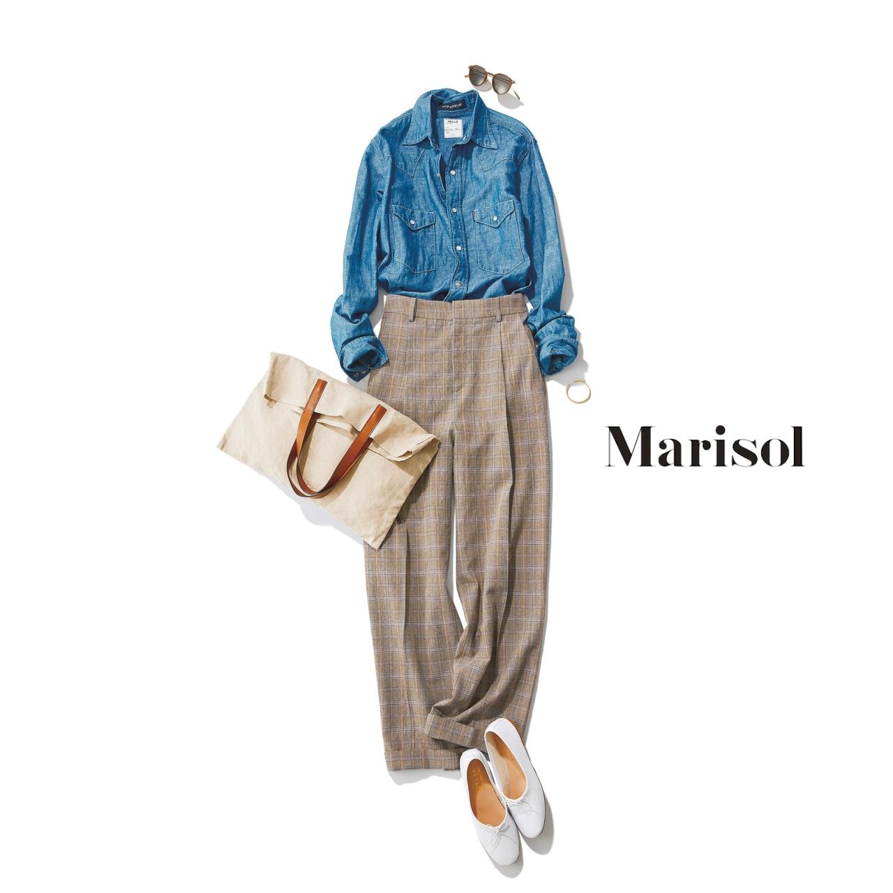 40代ファッション ダンガリーシャツ×グレンチェックパンツコーデ