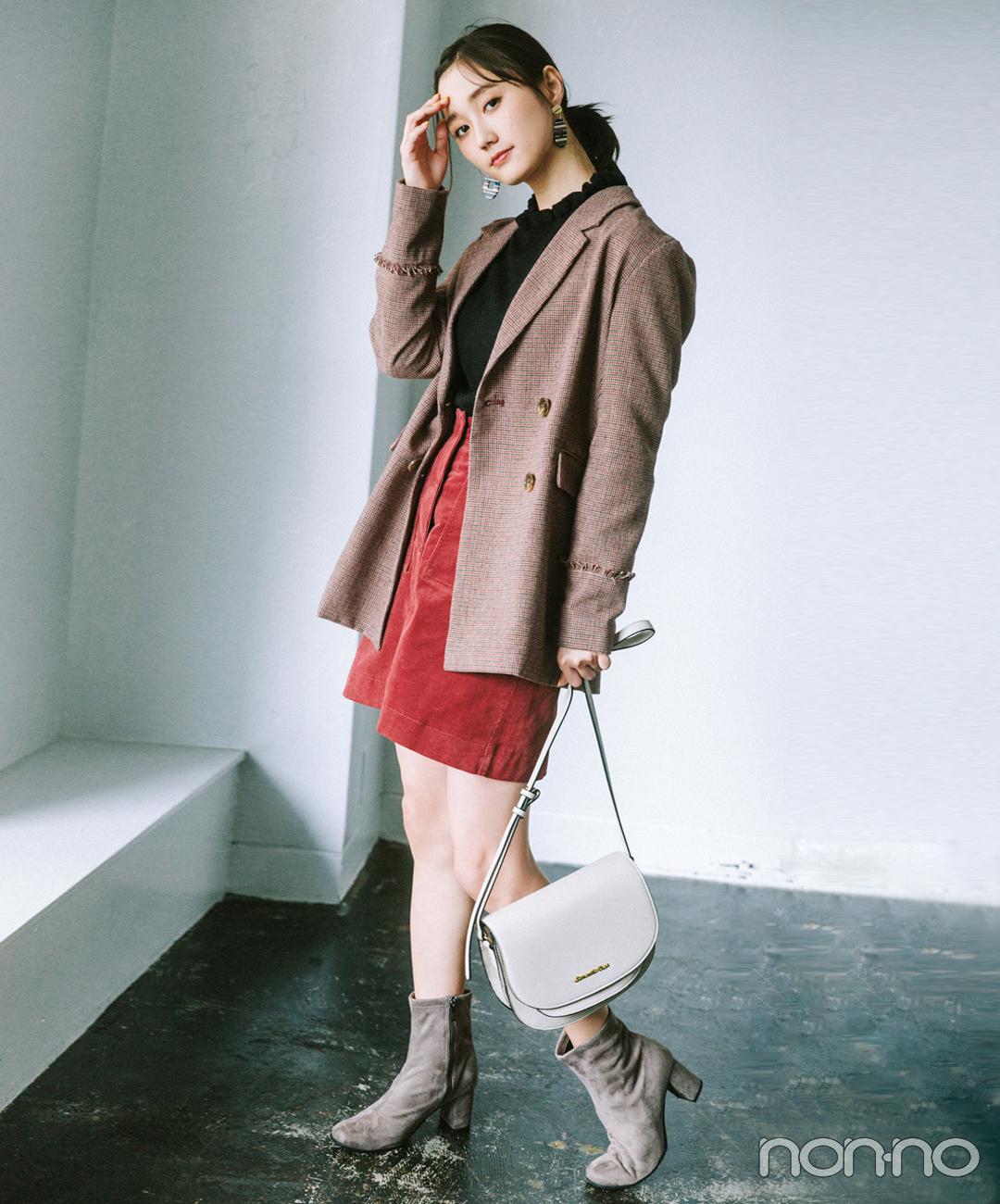 【ショルダーバッグコーデ】秋色ジャケットときれい色ミニスカートでハンサムガーリー