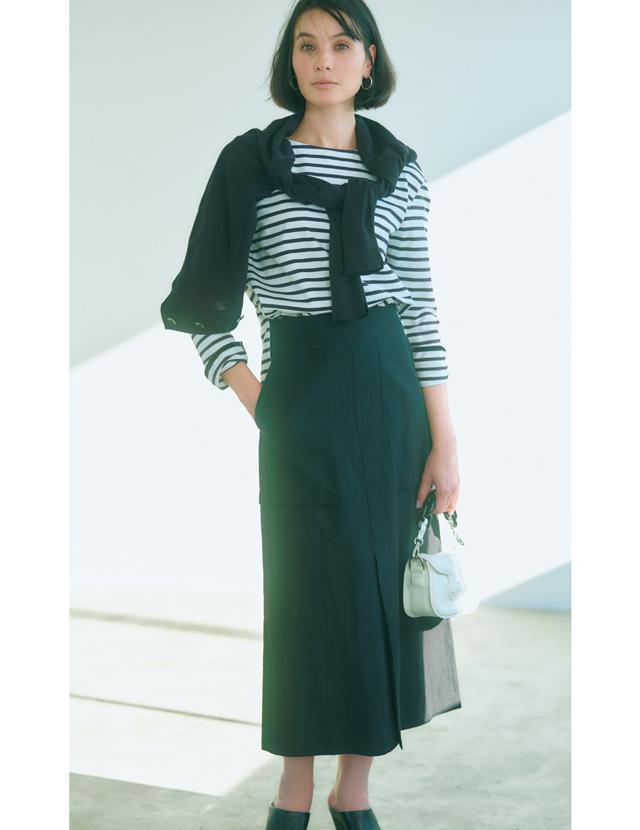 エイトンの黒スカートはハイウエスト&黒のリネン素材がポイント