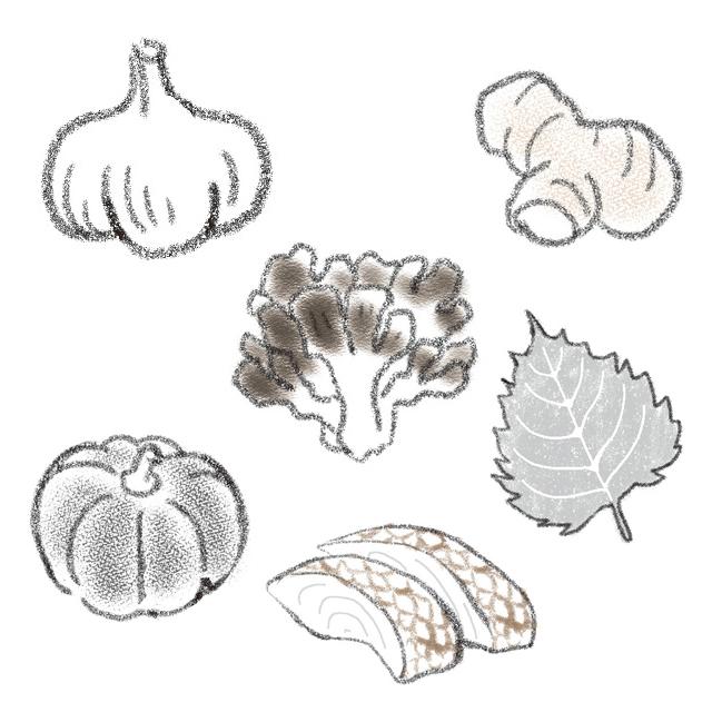 鯛、鰊、しょうが、まいたけ、かぼちゃ、 にんにく、にんにくの芽、しそなど