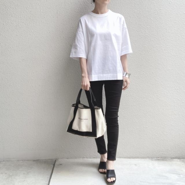 スーピマコットンオーバーサイズT(5分袖) カラー:00 WHITE