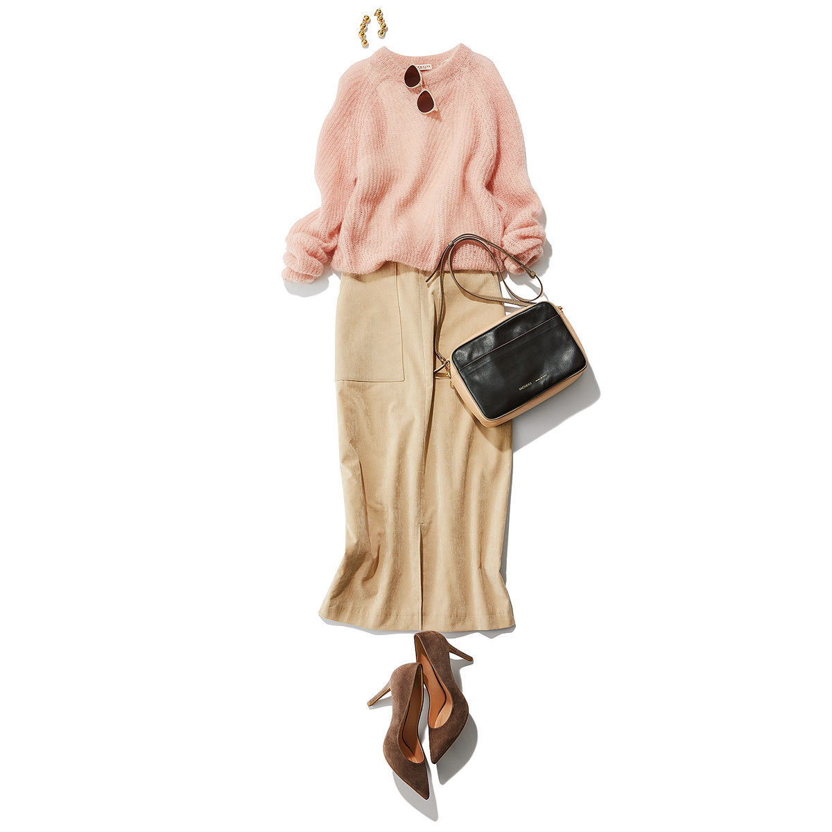 きれい色ニット×タイトスカートコーデ