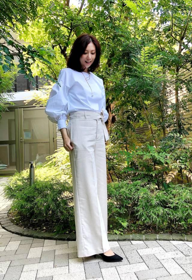 アラフォー向け「白✖️ベージュ」のプチプラミックスコーデ《ゆっこのファッション》_1_2