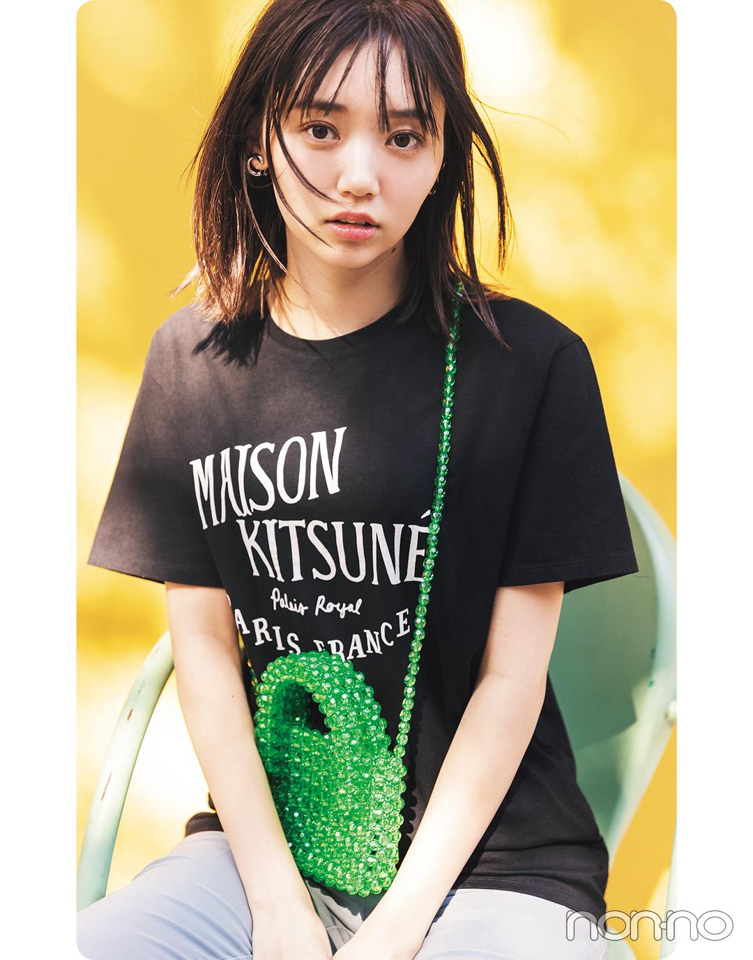 江野沢愛美が着るMaison KitsuneのTシャツコーデ2
