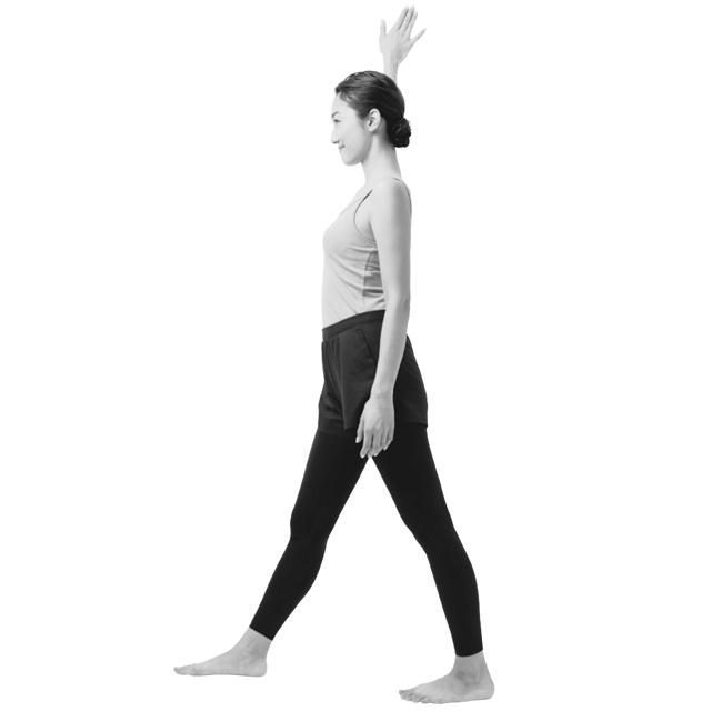 壁に対して垂直になる向きに立ち、右足を前に出して、やや広めに足を広げ、その状態で右手を上げて壁につける。