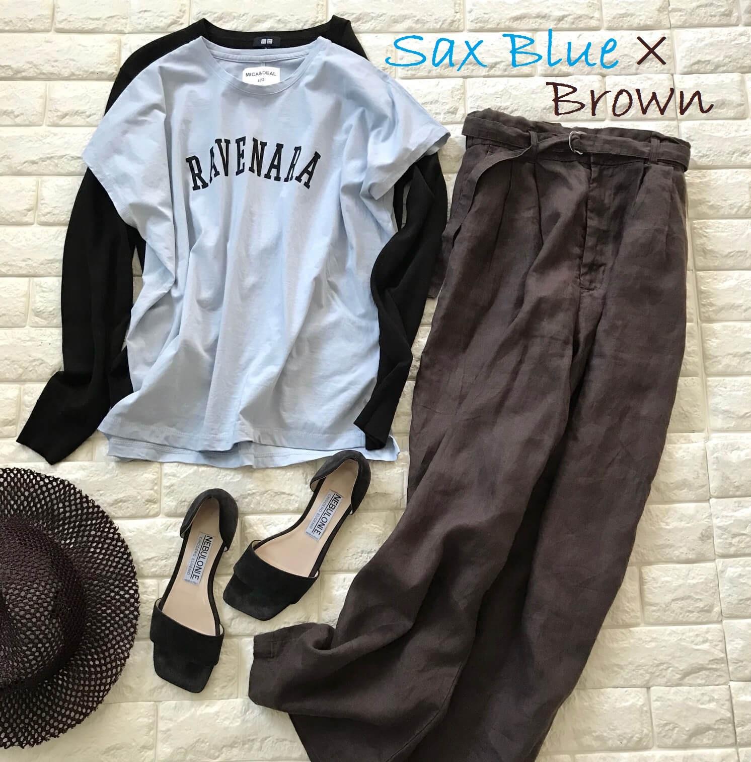 MICA&DEALのTシャツとブラウンのパンツを合わせた画像