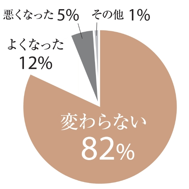 変わらない:82%、よくなった:12%、悪くなった:5%、その他:1%