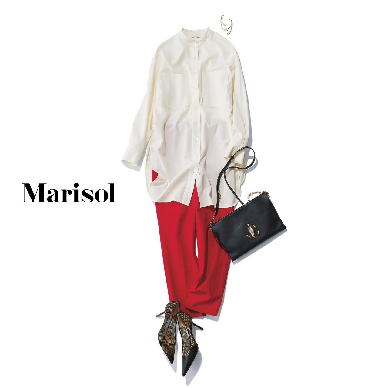 40代ファッション 白ロングシャツ×赤パンツコーデ