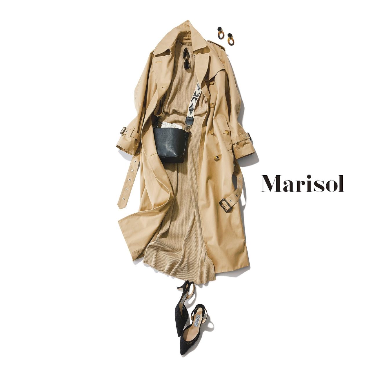 40代ファッション ベーシックトレンチ×ベージュセットアップコーデ