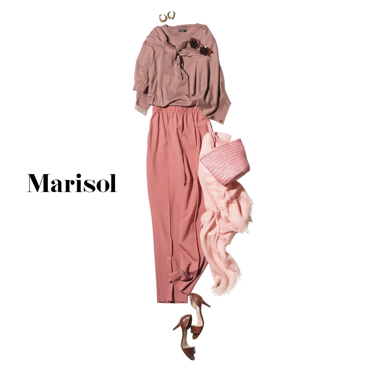 40代ファッション ピンクアンサンブルニット×ピンクパンツコーデ