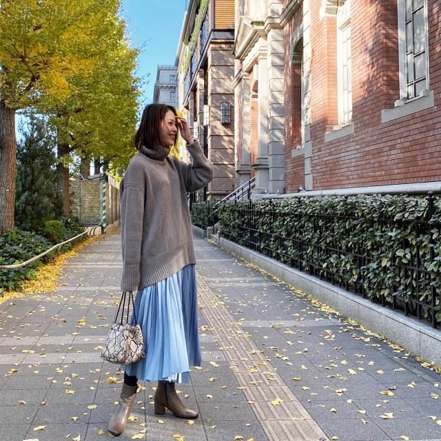 秋冬はニット×きれい色スカートで王道大人フェミニンコーデ♪_1_4-1