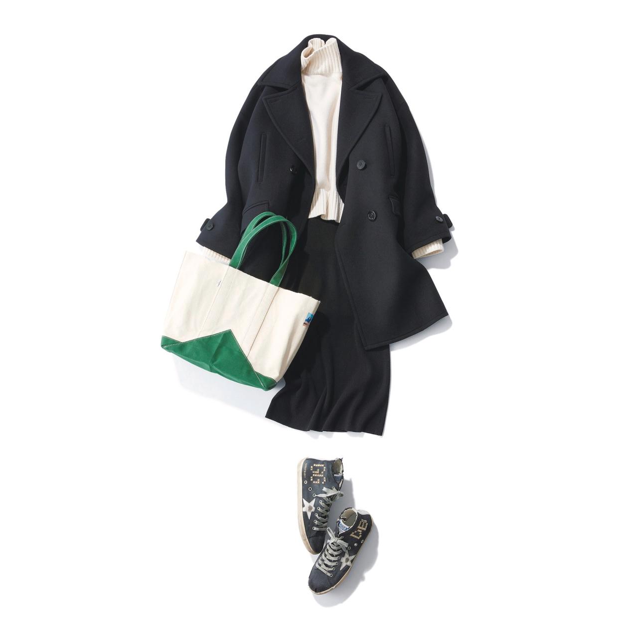 Pコート×スニーカーのファッションコーデ