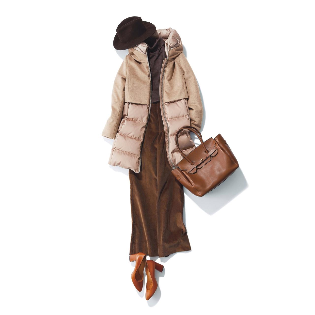 ファッション ダウンジャケット×コーデュロイパンツコーデ