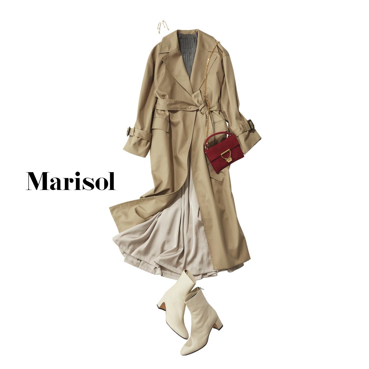 40代ファッション ロングガウンコート×艶スカートコーデ
