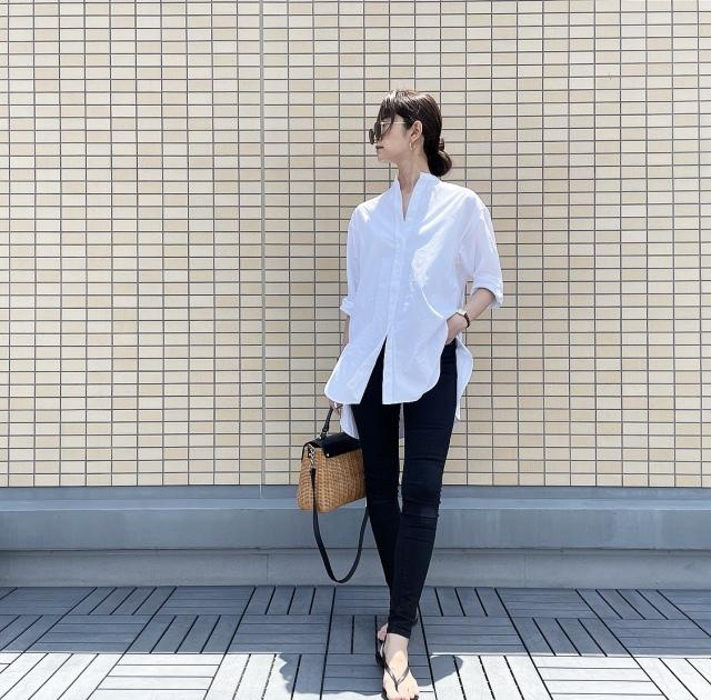 OOTD: ロングシャツのモノトーンコーデ【40代 私のクローゼット】_1_5