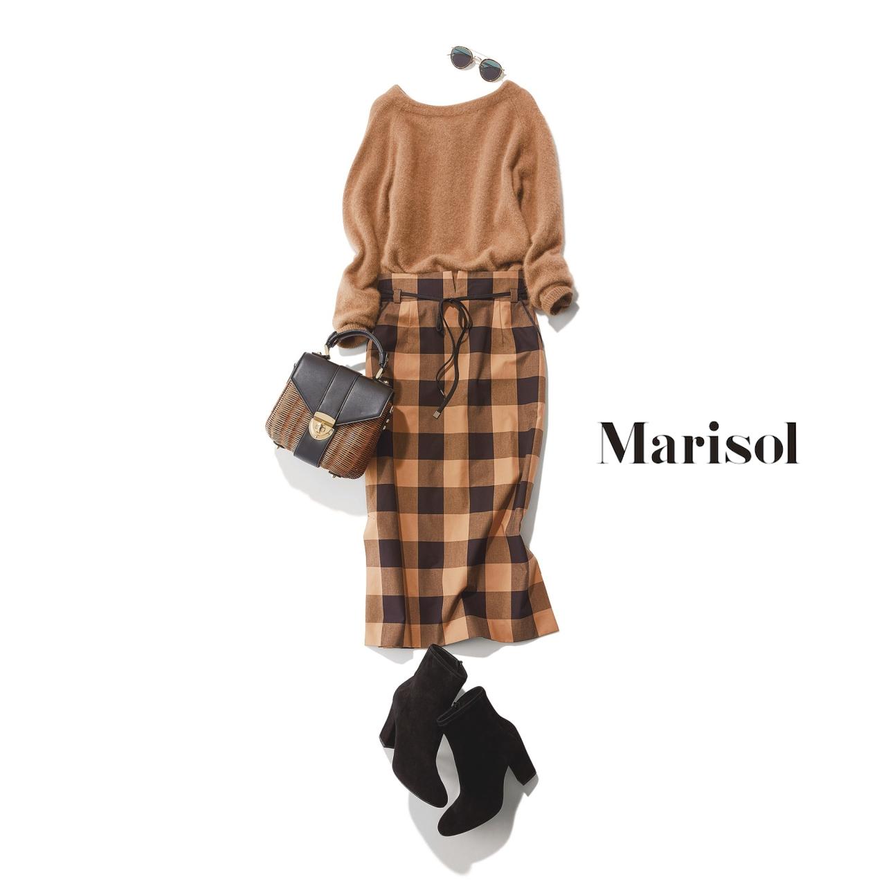 40代ファッションベージュニット×チェック柄スカートコーデ