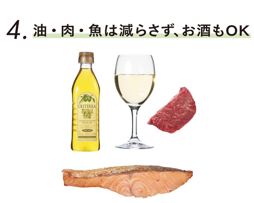 糖質オフダイエットの基本ルール4 油・肉・魚は減らさず、お酒もOK