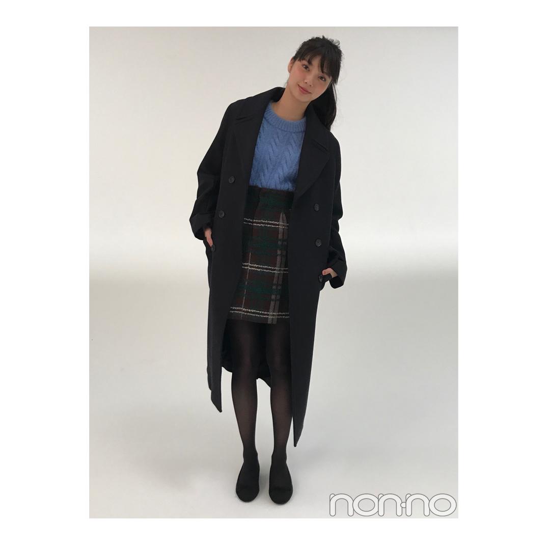 新川優愛が着るH&Mのネイビー膝下チェスターコート【毎日コーデ】_1_1
