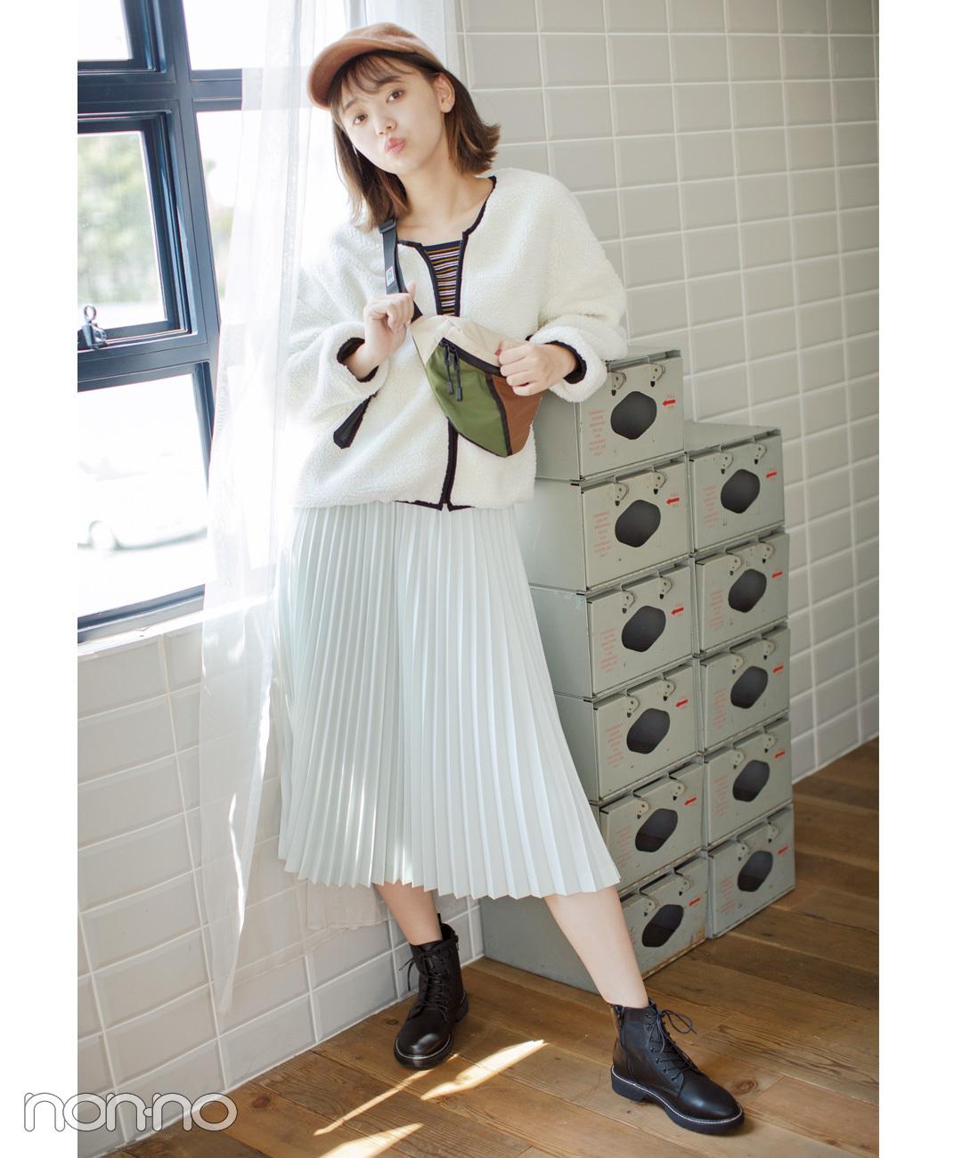人気のボアブルゾン×プリーツスカートでギャップコーデ【毎日コーデ】