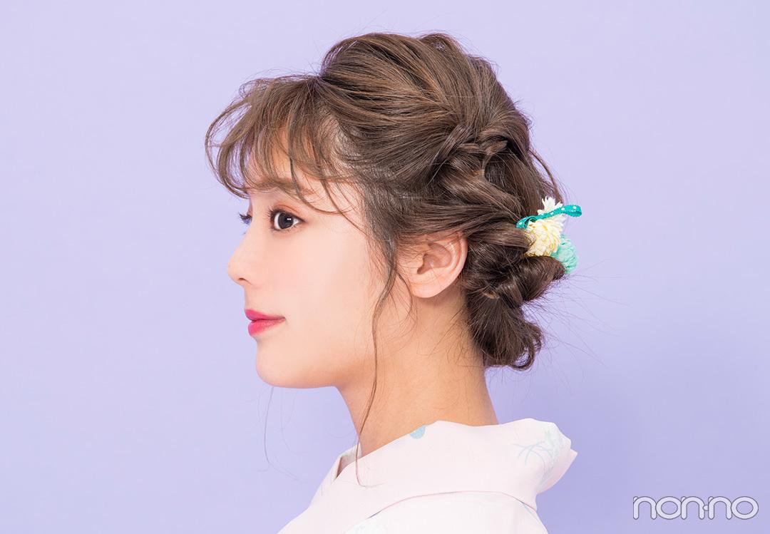 ゆかたの髪型・ミディアム甘め編♡ 簡単なのに編み込み風!【ゆかたの着付けと髪型】_1_2-1