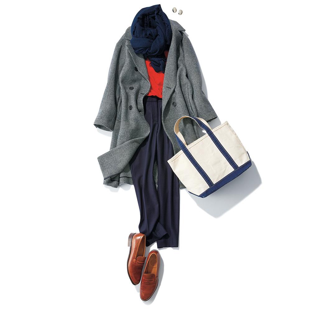 40代ファッション グレーのチェック柄コート×パンツコーデ