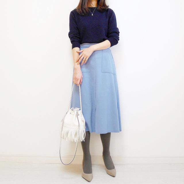 ブルーのスカートでリフレッシュ【tomomiyuの毎日コーデ】_1_1