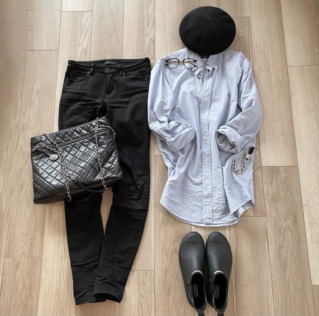 終日雨の日の楽ちんシャツコーデ :OOTD【40代 私のクローゼット】_1_2