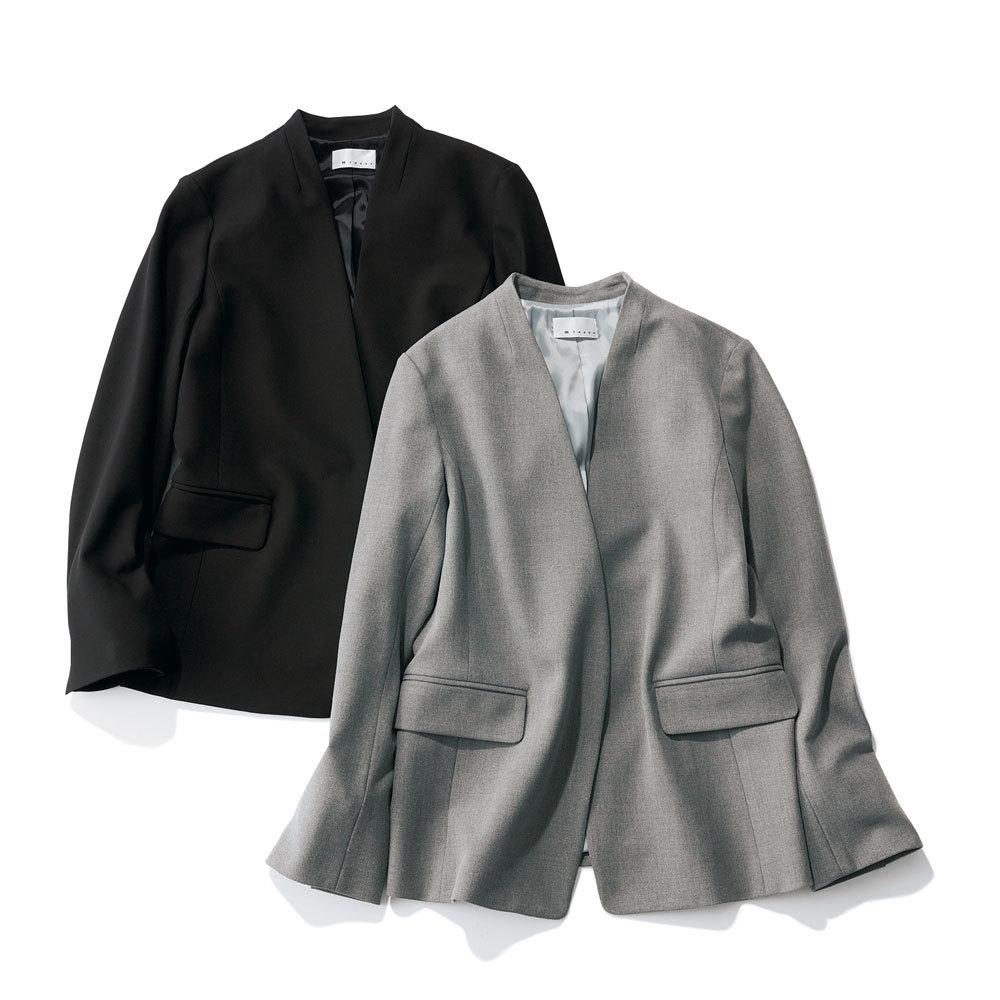 アラフォーお仕事服のエムセブンデイズのストレッチ素材Vカラージャケット