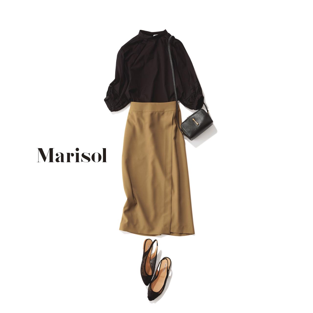 40代ファッション ブラウス×キャメルスカートコーデ