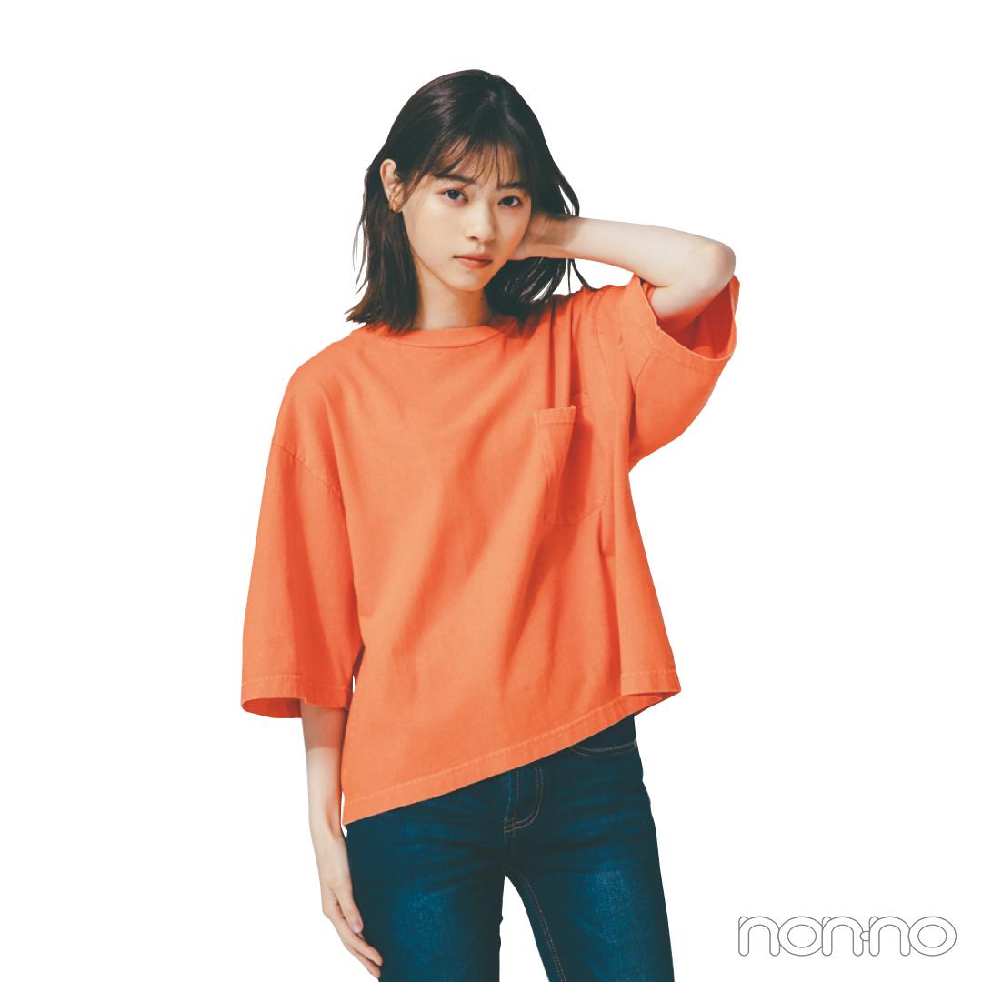ボックス型のTシャツ、シンプルなのに細見えするってウワサ!_1_3-1