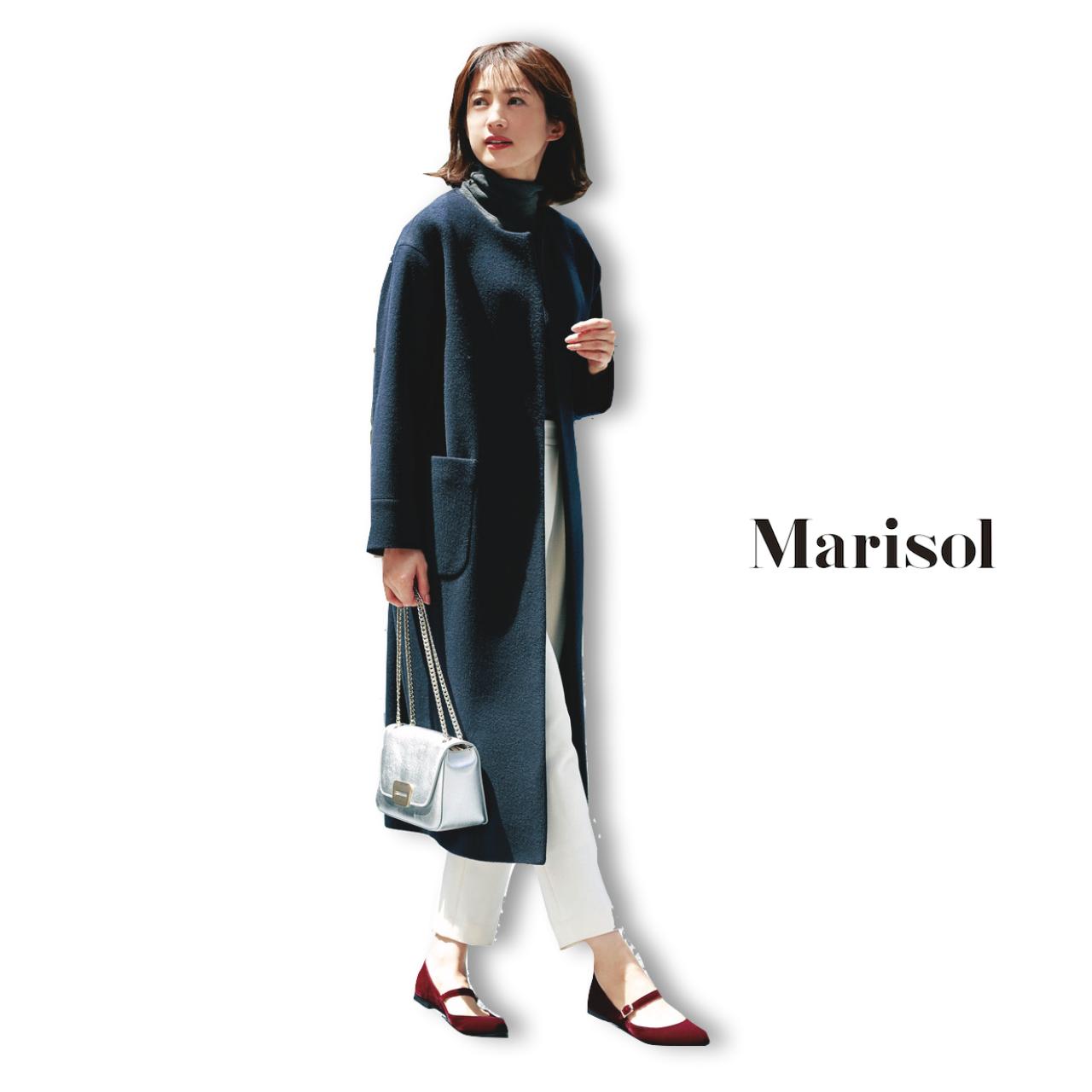 ノーカラーコート×パンツコーデのファッションコーディネート