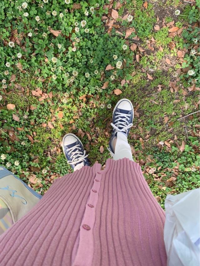 グレープ色のリブロングカーデで楽ちんピクニックコーデ_1_4-1