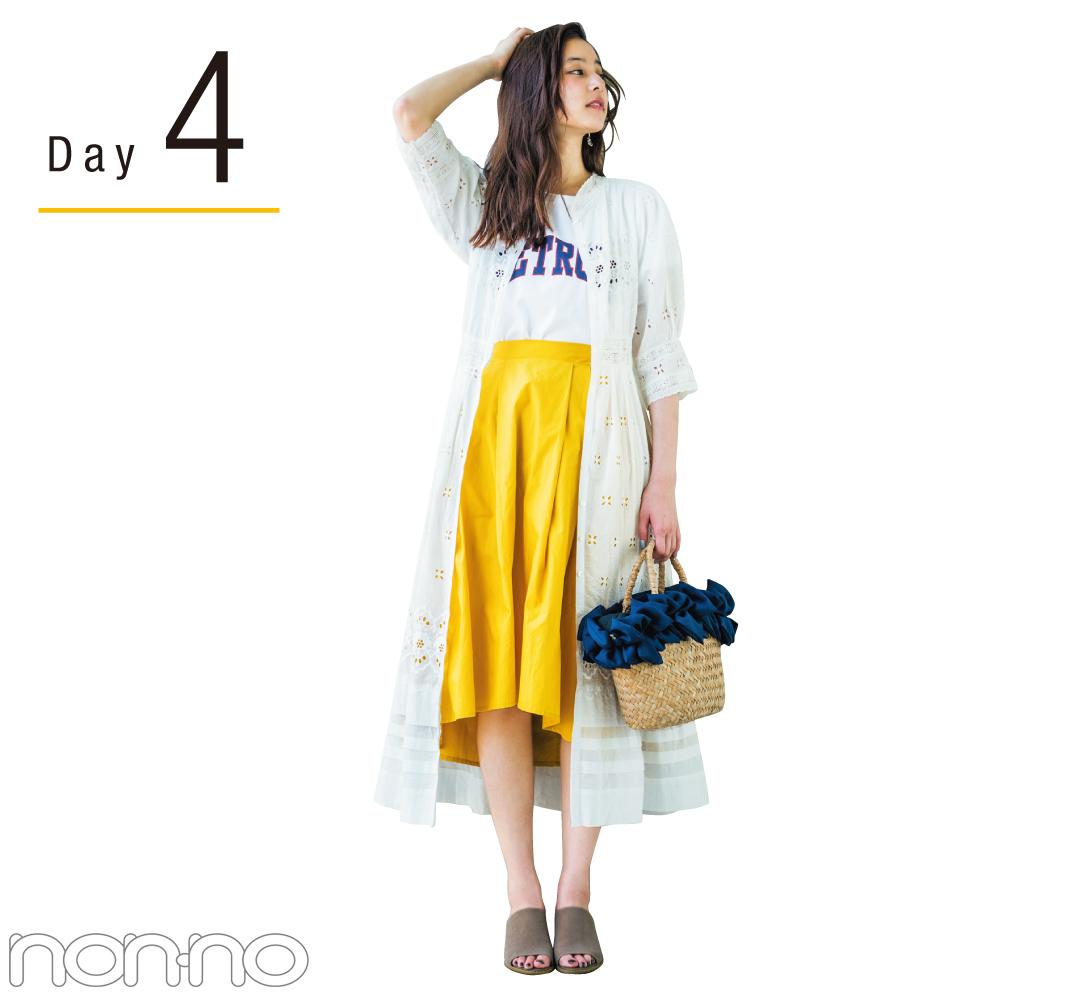 新木優子のきれい色揺れスカート着回し♡ ¥4250で最高おしゃれな4Days!_1_2-4