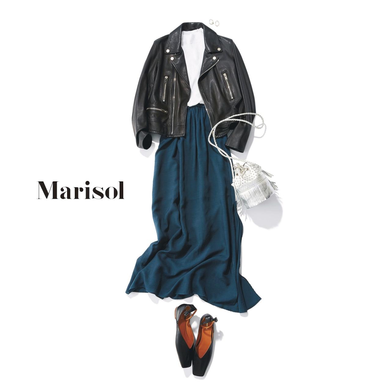 40代ファッション レザーブルゾン×まきしスカートコーデ